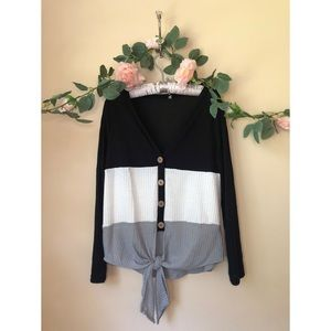 ROMWE Colorblock Bottom Knot Top